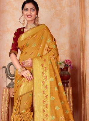 Mustard Weaving Silk Designer Saree