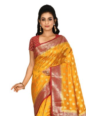 Mustard Weaving Trendy Saree