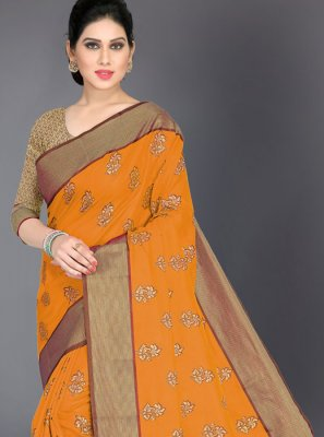 Mustard Woven Art Silk Traditional Designer Saree