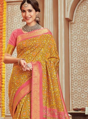 Mustard Woven Designer Traditional Saree