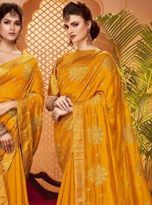 Mustard Zari Art Silk Classic Saree