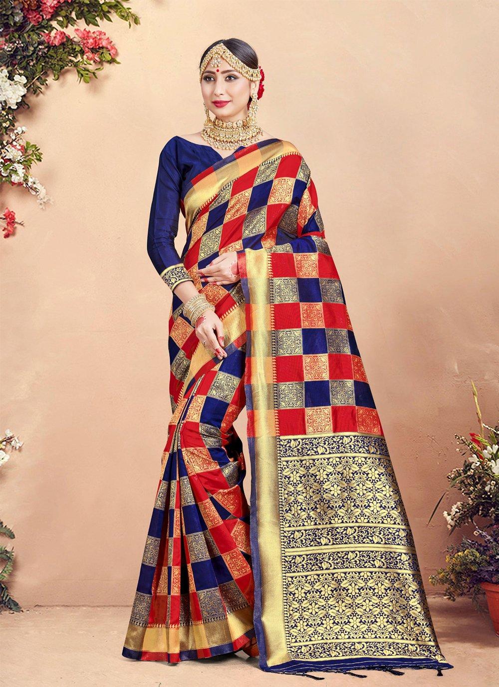 Navy Blue and Red Weaving Art Banarasi Silk Trendy Saree