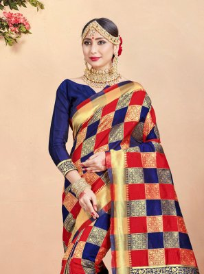 Navy Blue and Red Weaving Art Banarasi Silk Trendy Saree