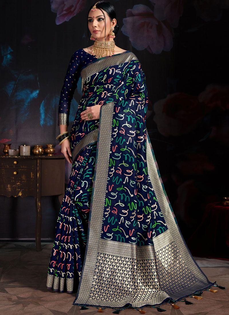 Navy Blue Art Banarasi Silk Designer Traditional Saree