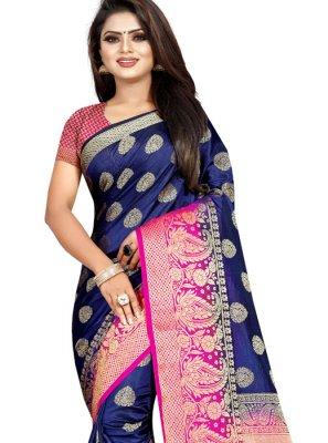 Navy Blue Art Banarasi Silk Weaving Designer Traditional Saree