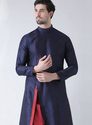 Navy Blue Art Banarasi Silk Wedding Dhoti Kurta