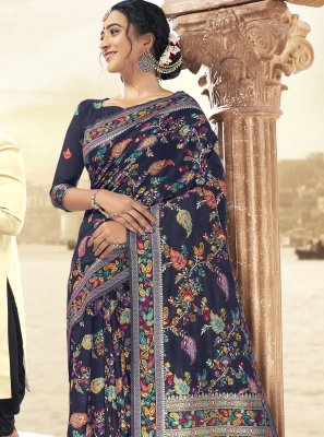 Navy Blue Art Silk Festival Saree