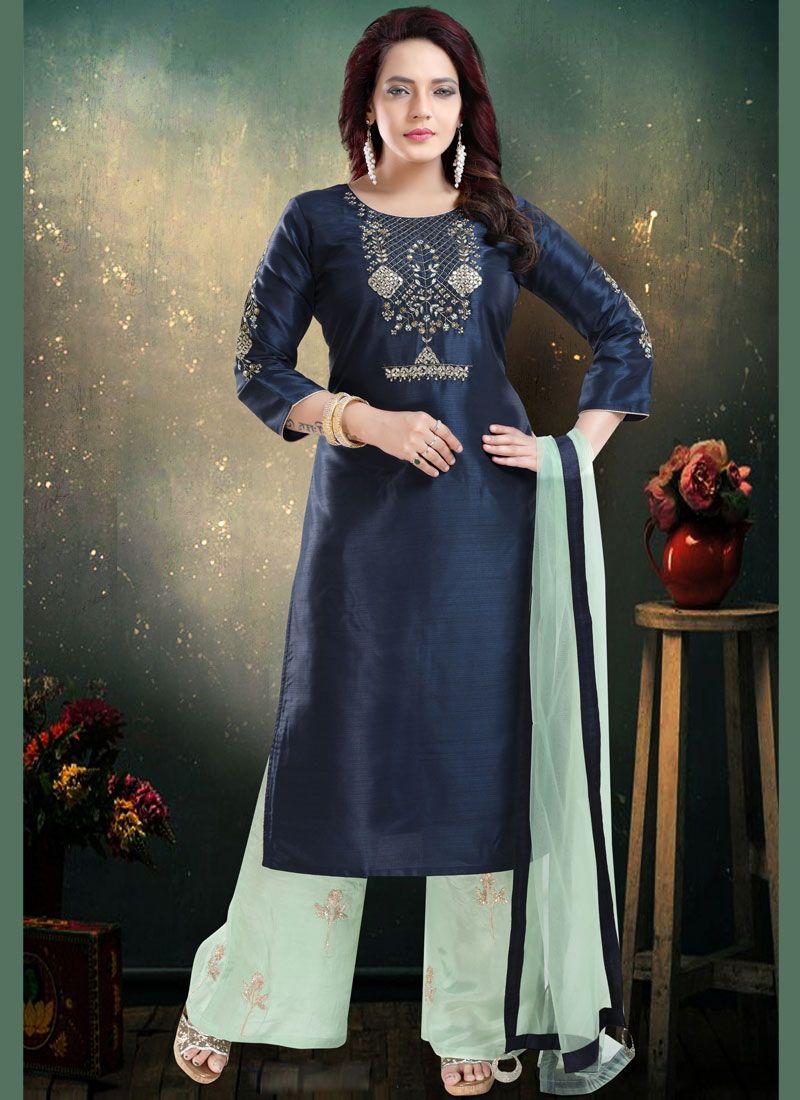 Navy Blue Art Silk Palazzo Suit