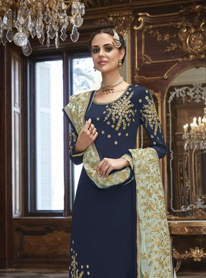Navy Blue Art Silk Wedding Churidar Salwar Kameez
