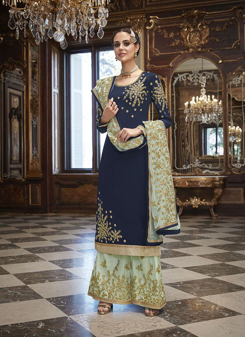 Navy Blue Art Silk Wedding Churidar Salwar Kameez
