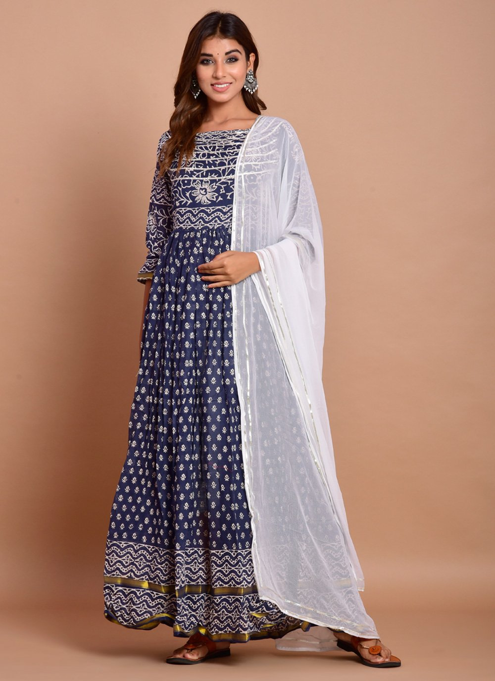 Navy Blue Block Print Cotton Designer Gown