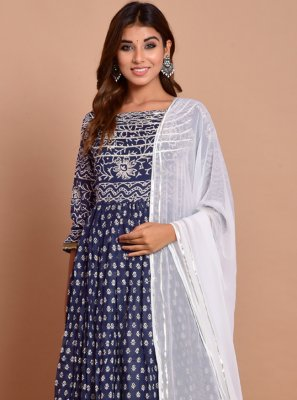 Navy Blue Block Print Cotton Designer Gown