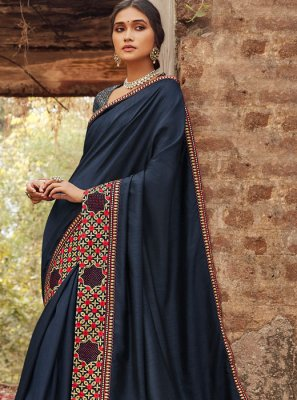 Navy Blue Border Party Silk Saree