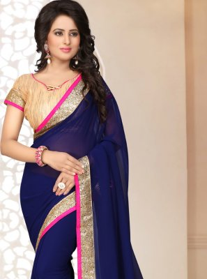 Navy Blue Ceremonial Georgette Saree