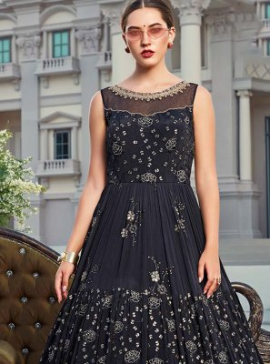 Navy Blue Chinon Floor Length Gown