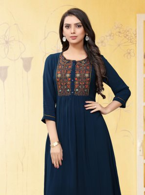 Navy Blue Color Casual Kurti