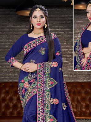 Navy Blue Color Designer Saree