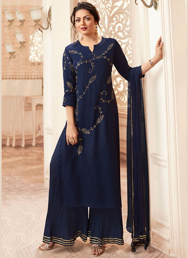 Navy Blue Color Palazzo Salwar Suit