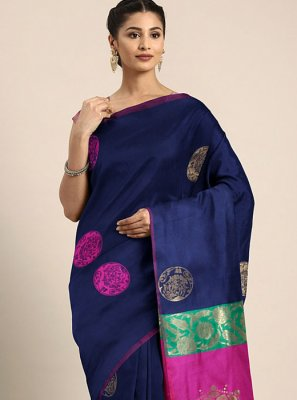Navy Blue Color Printed Saree