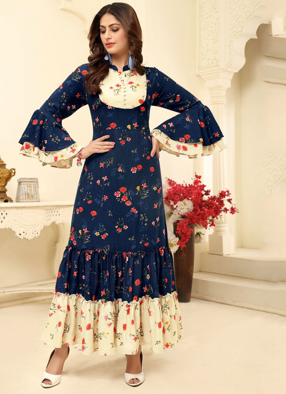 Navy Blue Color Trendy Gown