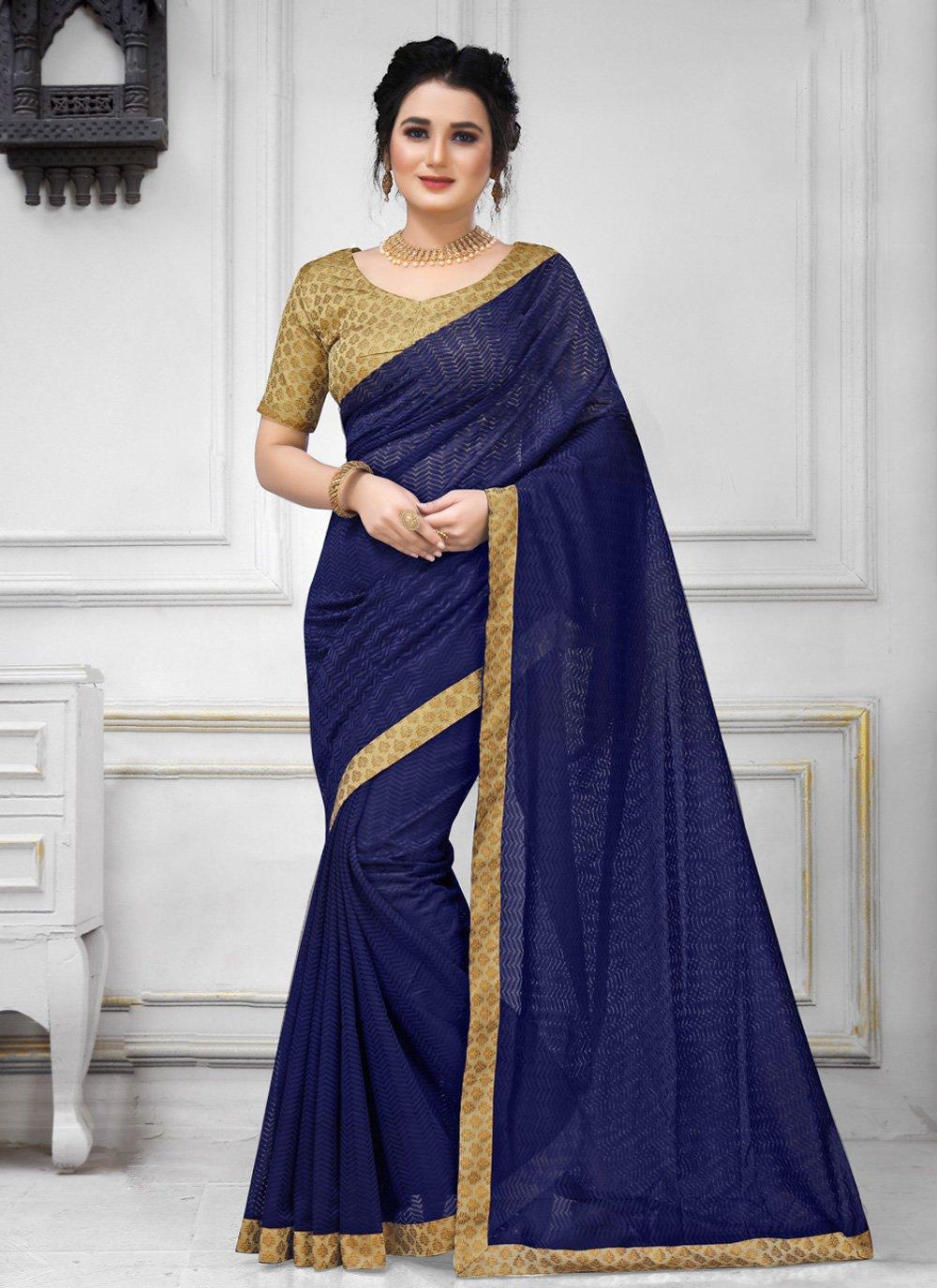 Navy Blue Color Trendy Saree