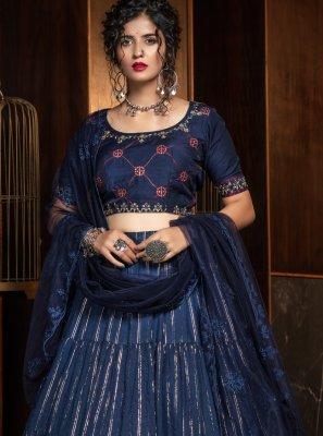 Navy Blue Cotton A Line Lehenga Choli
