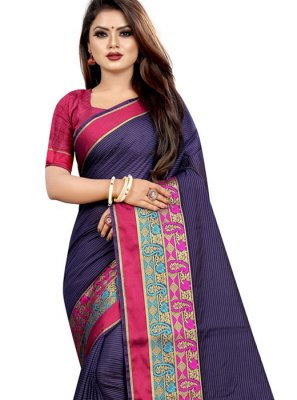 Navy Blue Cotton Classic Designer Saree
