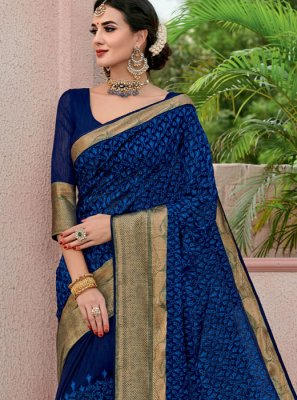 Navy Blue Cotton Classic Saree