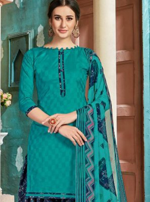 Navy Blue Cotton Festival Patiala Salwar Suit