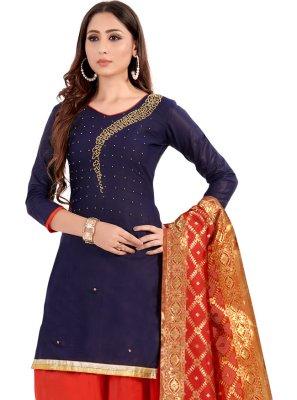 Navy Blue Cotton Handwork Designer Patiala Suit