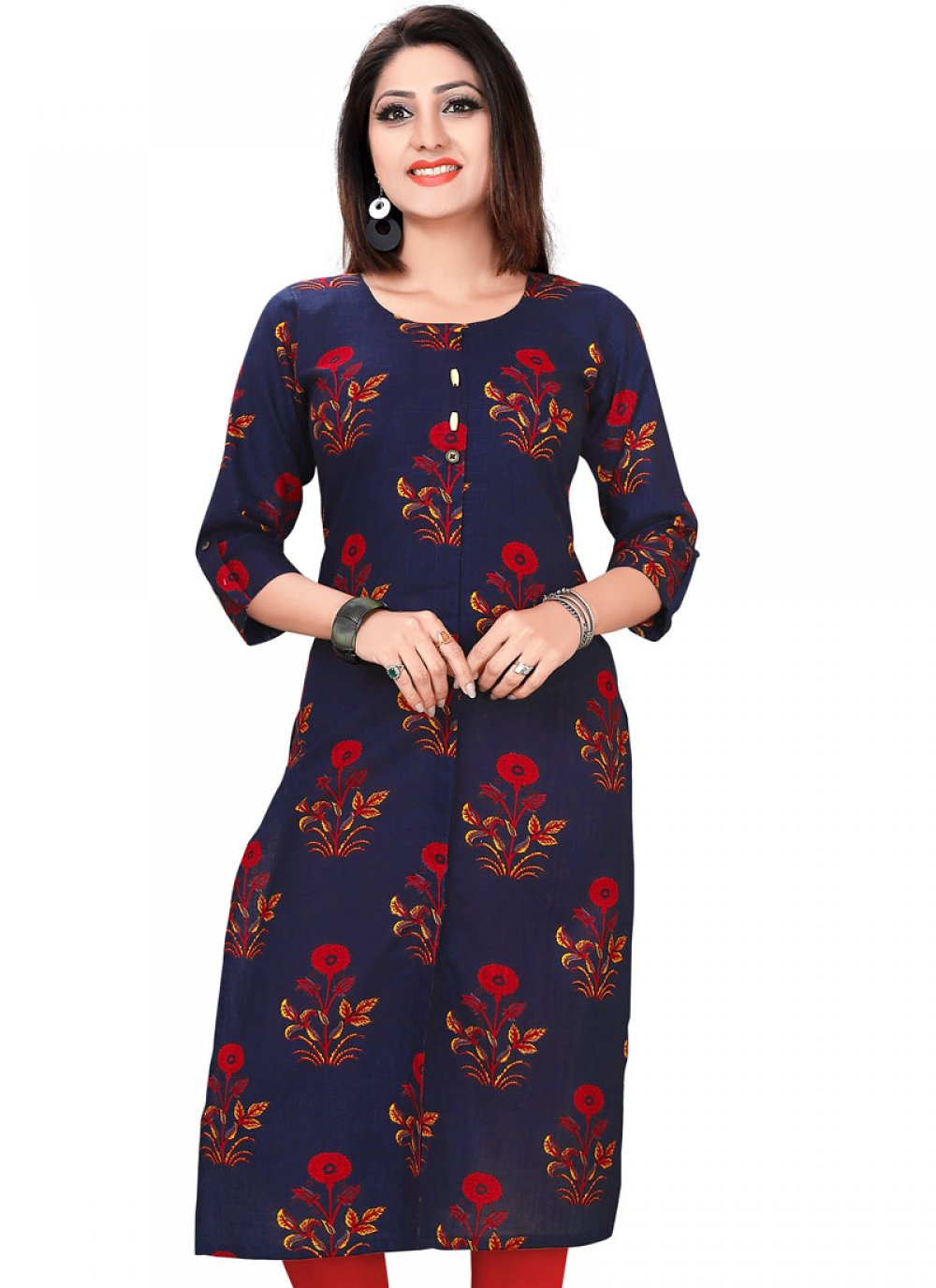 Navy Blue Cotton Party Wear Kurti
