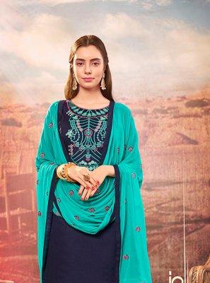 Navy Blue Cotton Silk Patiala Suit