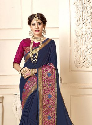 Navy Blue Cotton Silk Woven Casual Saree