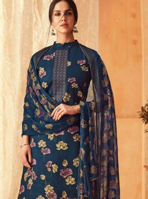 Navy Blue Digital Print Pant Style Suit