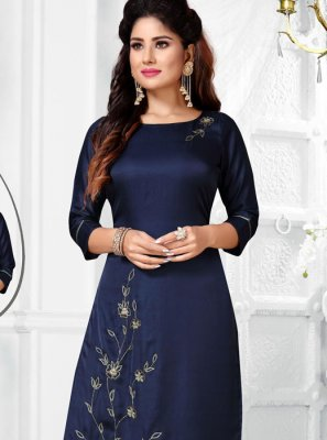 Navy Blue Embroidered Art Silk Salwar Suit