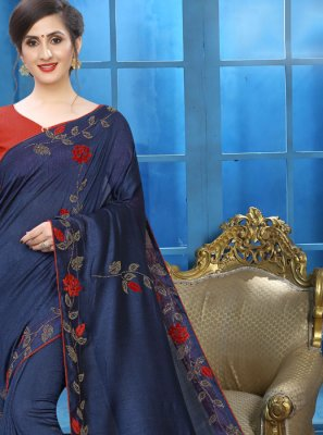 Navy Blue Embroidered Casual Silk Saree