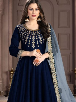 Navy Blue Embroidered Ceremonial Anarkali Suit