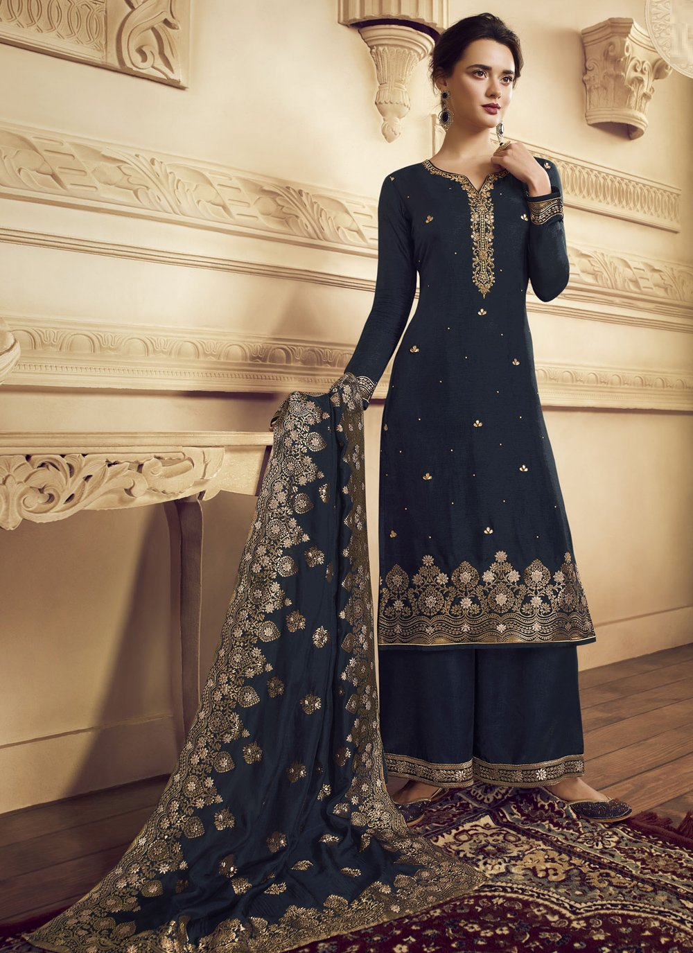 Navy Blue Embroidered Ceremonial Trendy Palazzo Salwar Suit