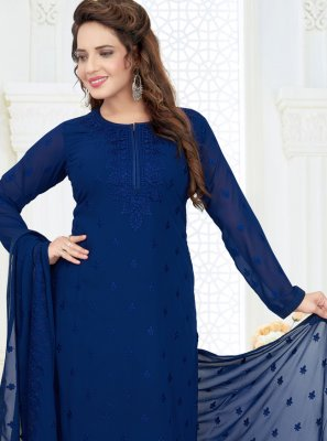 Navy Blue Embroidered Churidar Salwar Kameez
