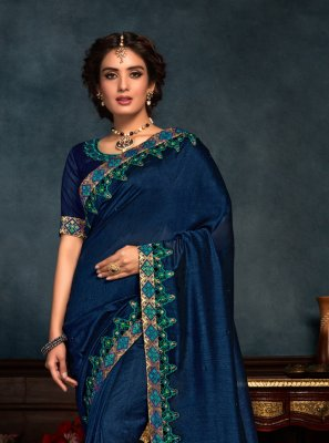 Navy Blue Embroidered Festival Classic Saree