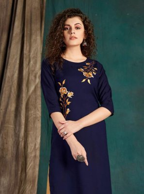 Navy Blue Embroidered Festival Party Wear Kurti