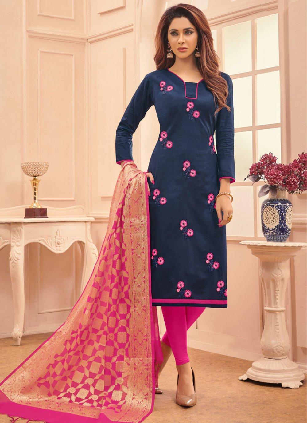Navy Blue Embroidered Festival Salwar Suit