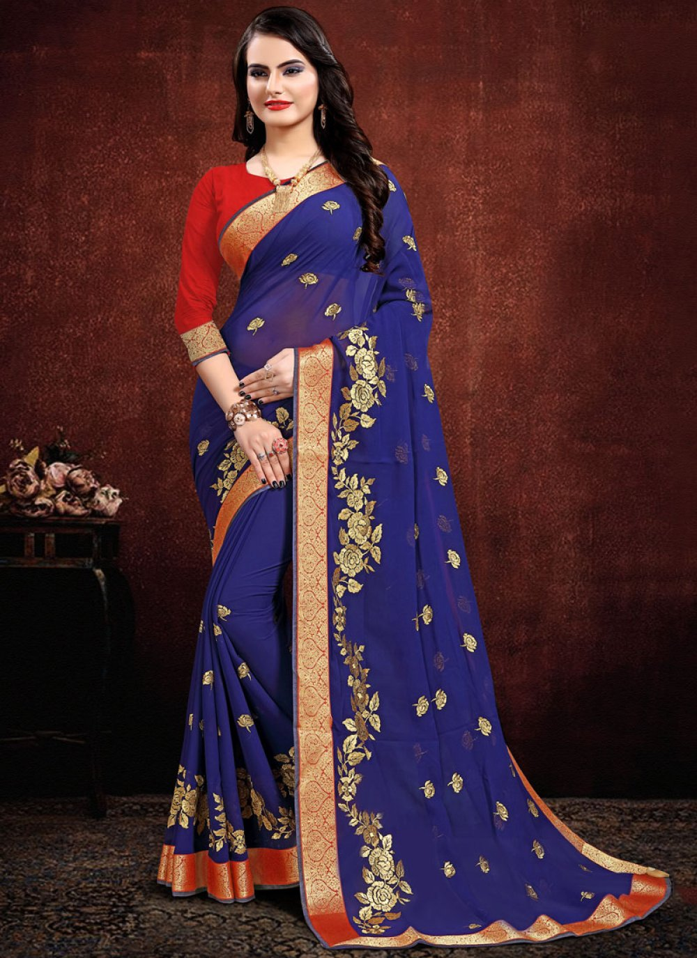Navy Blue Embroidered Georgette Contemporary Saree