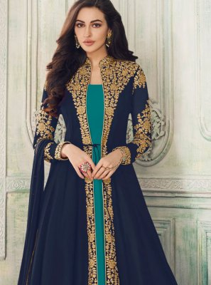 Navy Blue Embroidered Georgette Salwar Suit