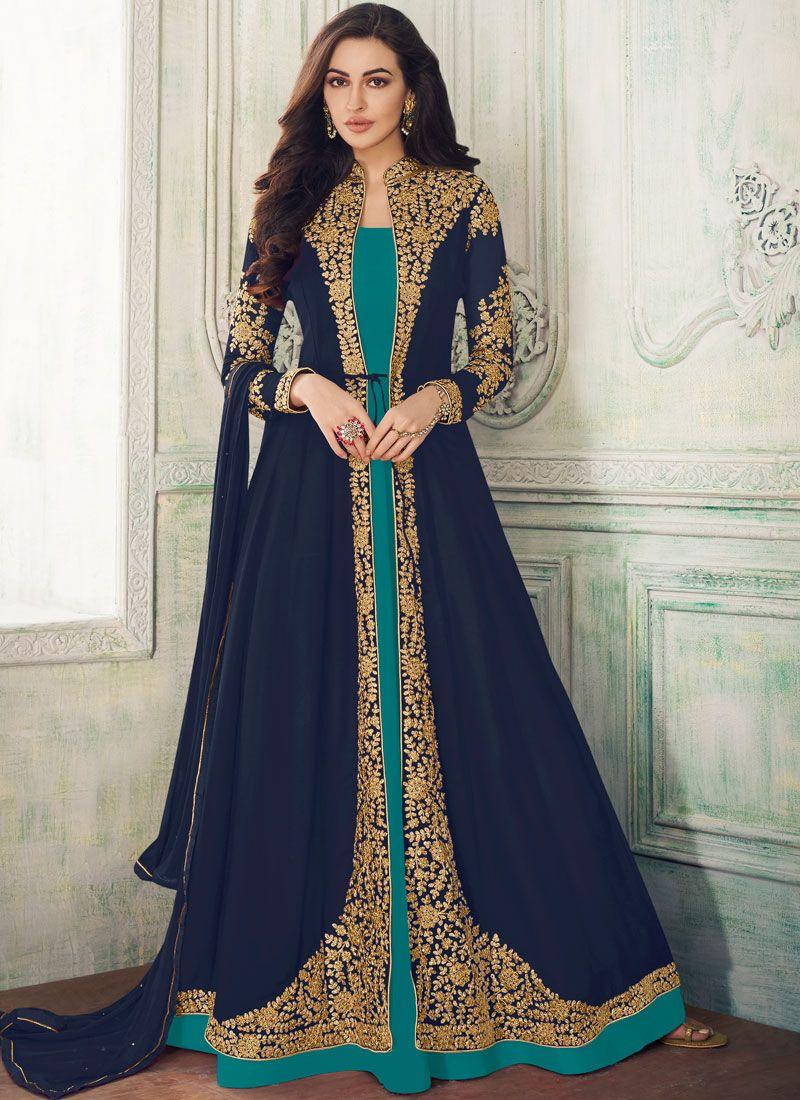 Navy Blue Embroidered Georgette Salwar Suit