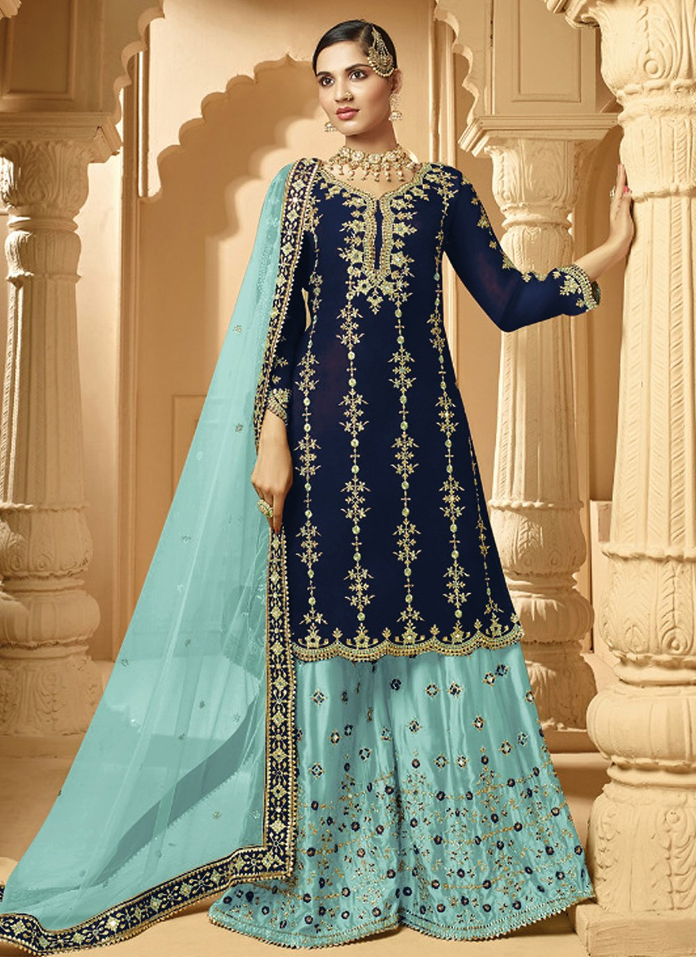 Navy Blue Embroidered Palazzo Suit
