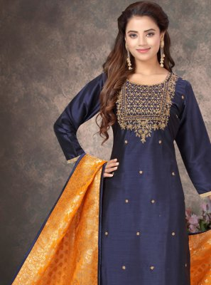 Navy Blue Embroidered Pant Style Suit