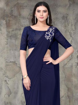 Navy Blue Embroidered Party Classic Saree