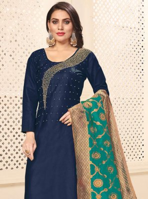 Navy Blue Embroidered Party Pant Style Suit