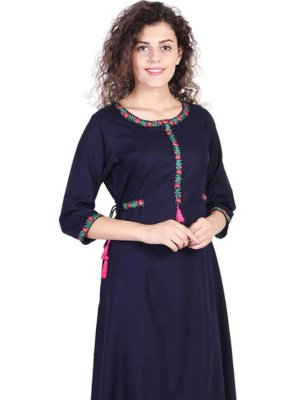 Navy Blue Embroidered Party Party Wear Kurti